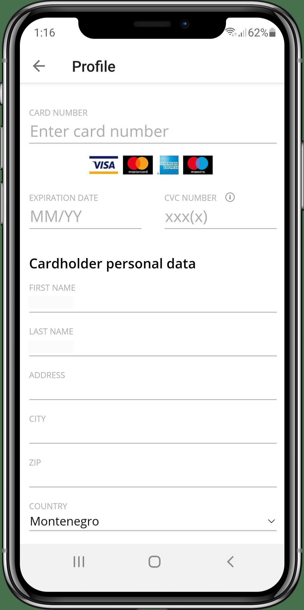 Golden 360 payment screen